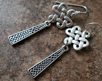 Celtic Knot Earrings in Antiqued Silver