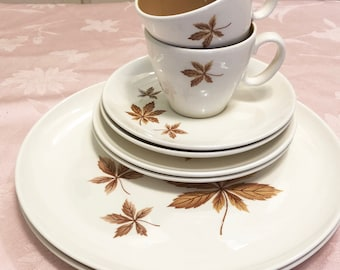Ever Yours Taylor Smith And Taylor By Randow Leaves Oven Proof U.S.A Leaf Luncheon Stone Ware. Tea Cup And Saucers, Dinner Plates Serves 2
