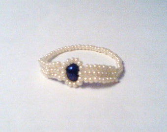 Blue Pearl & Seed Bead Ring, Czech Seed Bead Ring, Seed Bead Ring, Native Made ring, Native American Made Ring, Blue Pearl Ring