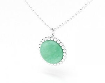 Aventurine cabochon and silver Cocktail necklace