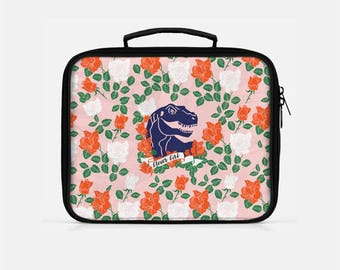 Dinosaur Lunch Box, Lunch Box for Girls, Clever Girl Lunch Box, Girls Lunch Box, Cute Lunch Bag, Pink Lunch Bag,  Floral Lunch Box,