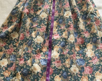 Corduroy floral skirt Vintage Talbots Multi color floral print roses fabric or wear brushed corduroy