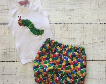 Heaven Sent Handmade baby singlet shorts shorties the very hungry caterpillar baby shower gift size 000