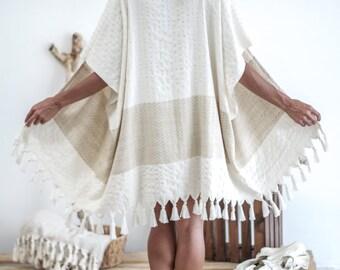 Boho Kimono Pamuk | Beach Cover Up, Beach Kimono, Free Shipping Bohemian Dress, Boho Robe, Kimono Jacket, Festival Dress Pamuk Beige KSC07