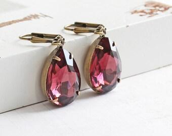 Wine Teardrop Earrings, Rhinestone Drop Earrings on Antiqued Brass Hooks, Light Burgundy Dangle Earrings, Prom Jewelry