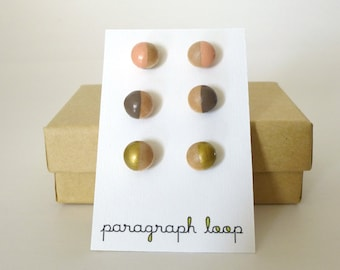 Peach, taupe and gold earring set, button post earrings, little studs, colorful earrings, gift for her