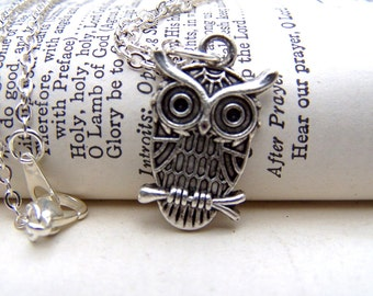 Silver Owl Necklace Branch Cute Little Owl Jewelry Under 10