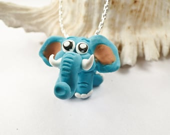 Elephant Polymer Clay in turquoise and purple, lucky Elephant, elephant charm, phone plug charm, cute turquoise elephant / Sandycraft