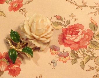Vintage Deeply Carved Rose Brooch Circa 1950's
