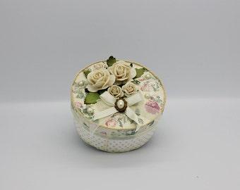 Shabby chic keepsake box with yellow roses