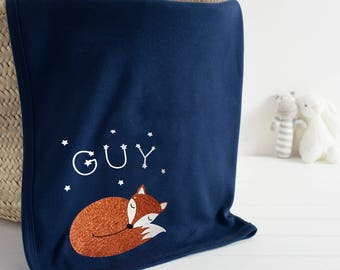 Baby blanket with sleeping fox - personalised blanket - newborn gift - scandi nursery decor - constellations - personalized gift for newborn