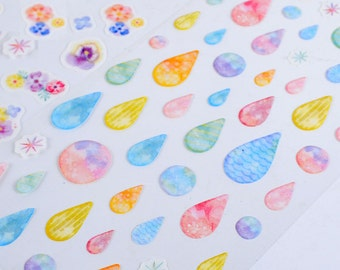 Washi Paper Deco Sticker - Rainbow Series - Drop - 1 Sheet