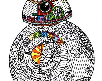 BB8 Star Wars Coloring Page Pages Adult Pen And Ink Art PDF Zentangle