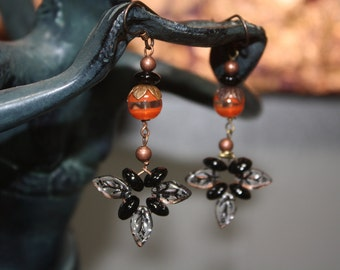 Black & Orange Pumpkin with Leaf Dangle Halloween Earrings