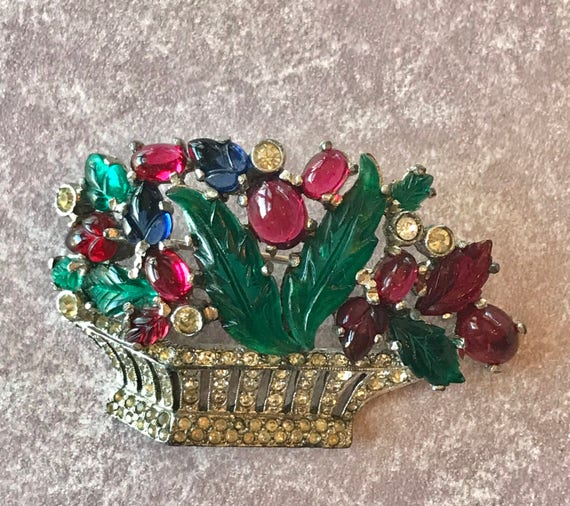 Mazer fruit salad basket brooch