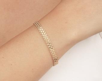 Delicate Gold Bracelet, Dainty Chain Bracelet, Layered Bracelet, Bridesmaid Bracelet, Wedding 24k Gold Plated Jewelry.