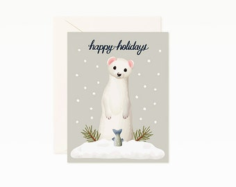 Weasel Happy Holidays Christmas Card
