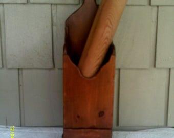Vintage Wooden Utensil Holder, Wooden Kitchen Decor, Kitchen Container, Utensil Holder, Kitchen Storage