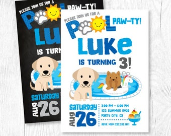 Puppy Invitation, Boy Pool Birthday Party, Puppy Birthday Party, Summer Birthday Invitation, Puppy Party, Pet Birthday, Digital, 2 Options