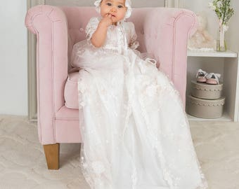 Scarlett Lace Christening Gown, Baby Girl Baptism Gown, Lace Baptismal Gown, Girls Heirloom Christening Gowns
