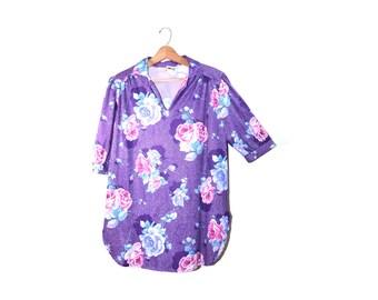 Plus Size Blouse Purple Blouse Floral Print Blouse Boho Top Festival Top Purple Shirt Size XL