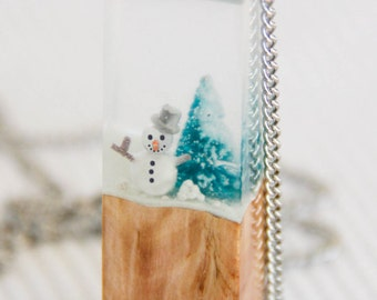 Winter Snowman - Glow in the dark - Clear Resin & Wood Pendant Necklace - gift for - one of a kind