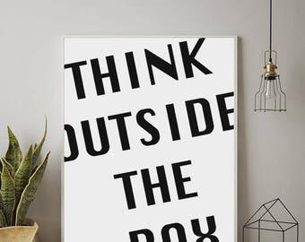 Think Outside The Box, Funny Typography, OFFICE WALL ART, Printable Wall Decor, Office Art,Minimalist Art,Digital Download Art,Printable Art