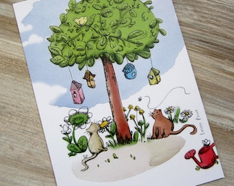Illustrated postcard / cats in the garden