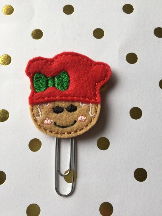 Gingerbread Girl Chef planner Clip/Planner Clip/Bookmark. Holiday Planner Clip. Gingerbread planner clip. Christmas planner clip