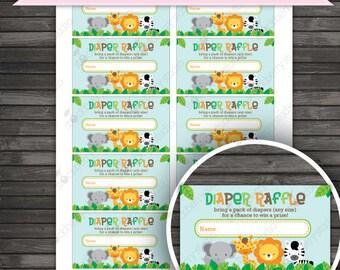 Safari Baby Shower Diaper Raffle Ticket - Instant Download - Jungle Baby Shower Games Printable - Gender Neutral Baby Shower Activities