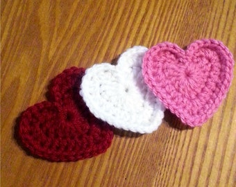 Crochet Heart Appliques Set of Three - Red, White and Pink Hearts, Valentines Day Hearts