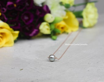 MULTIPLE GREY PEARL Necklaces - Bridesmaids gift, friends gift, 925 sterling silver necklace with natural grey freshwater pearl