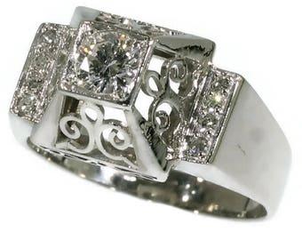 Vintage diamond ring platinum center brilliant cut diamond .35ct Mid-century engagement ring