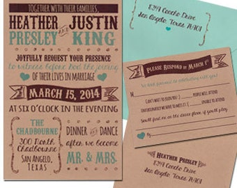 Printed Rustic Invitation Sets Wedding Invitation Sets Custom Wedding Invitation Set