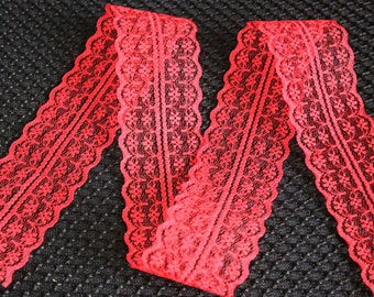2 inch wide lace trim, can be split into double the yardage if desired, red 10 yard packet