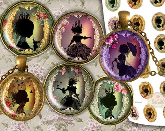 Shabby Chic Silhouette Art ,1 inch round digital images +30,25,18m + FREE Gift Tags & greeting card  Instant Download - jewelry pendants