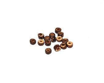 100, 250 or 500 rondelle beads natural Brown coconut approximately 5x5mm hole 2 mm