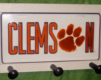 Clemson Tigers  License Plate Peg Hanger