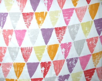 Fabric white pink orange purple grey yellow bunting decoration triangles Cotton Fabric Kids Fabric Scandinavian Design Scandinavian Textile