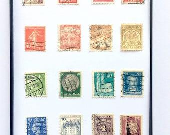 "5x7"" Rainbow International Vintage Postage Stamp Collage Wall Art / Around the World ROY G BIV Philately Arrangement / Pen Pal Gift"