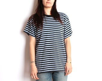 90s striped OXFORD blue on BLUE soft SPRING t shirt top