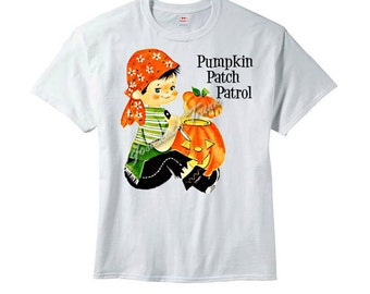 Retro Halloween Boy Pumpkin Patch Patrol Tee Custom Size Vintage Tshirt Pumpkin Farm