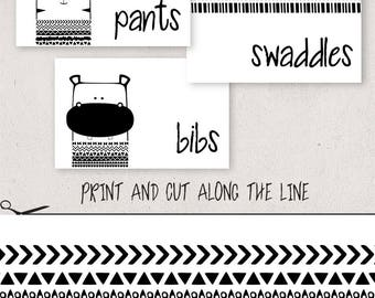 Baby Clothes Labels, Nursery Drawer Organizer, Black and White Aztec Animals, Baby Boy Nursery Organization, Divider Tags, Drawer Labels