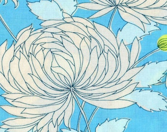 Belle Chrysanthemum Amy Butler Westminster Cotton Fabric PWAB115 Blue, By the Yard