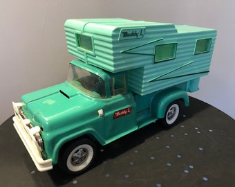 Vintage Buddy L Pressed Steel Truck and Camper, Aqua Color