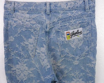 Vintage 80s Gasoline Mom Denim Jeans 7 26x27 Floral Woven High Waist Tapered Leg Embossed Flowers Blue/White 90s