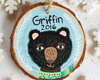 Bear Ornament, Personalized Kids Christmas Ornament, Baby Boy Ornament, Painted Ornament, Christmas Gift for Nephew, Teddy Bear Ornament