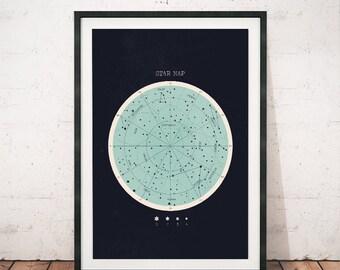 Constellation print, Star chart, Horoscope print, Constellation decor, Astronomy wall art, Astrology print, Home decor, Space art print