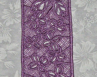 Lace Bookmark, lilacs, done in Lavender