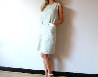 Dress in sleeveless seagreen tweed with big pockets ADELAÏS